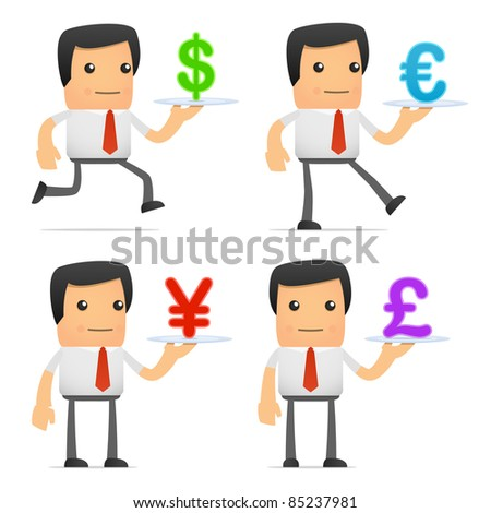 set of funny cartoon manager in various poses for use in presentations, etc. - stock vector
