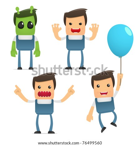 set of funny cartoon mechanic in various poses for use in presentations, etc. - stock vector