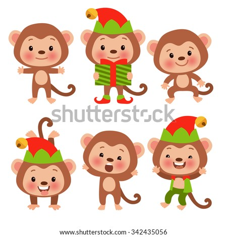 Set of funny cartoon monkey in the New Year costumes. Symbol of the year - the monkey is preparing for the new year. Year of the Monkey. - stock vector