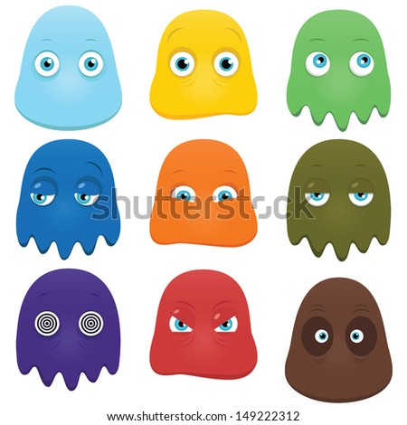 Set of funny cartoon monsters isolated on white - stock vector