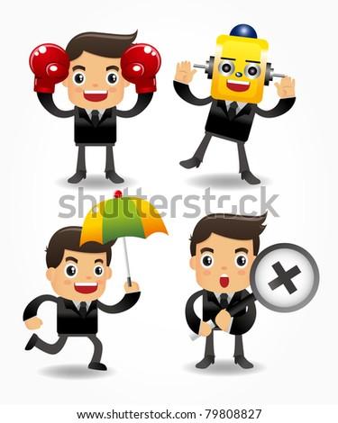 set of funny cartoon office worker - stock vector