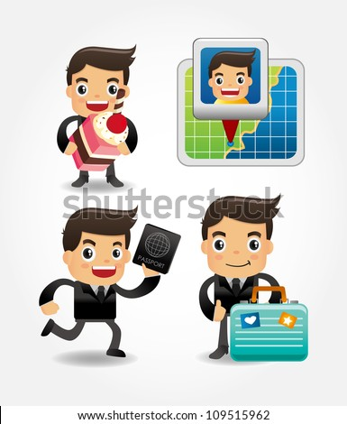 set of funny cartoon office worker go to travel - stock vector
