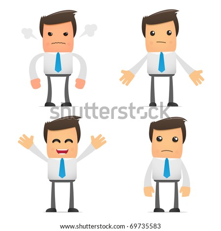 set of funny cartoon office worker in various poses for use in presentations, etc.
