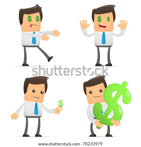 set of funny cartoon office worker in various poses for use in presentations, etc. - stock vector