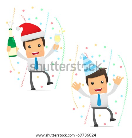 set of funny cartoon office worker in various poses in celebration - stock vector