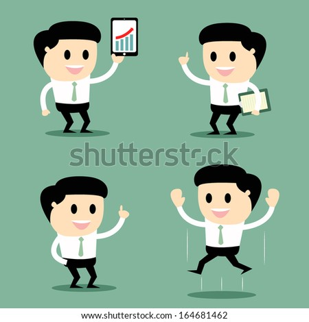 set of funny cartoon office worker in various poses, vector illustration.