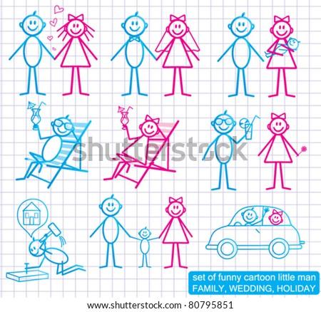 Set of funny cartoon people.  FAMILY, WEDDING, HOLIDAY. - stock vector