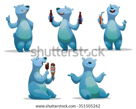 Set of funny cartoon polar bear.  One stands. Two drinking soft cold drinks. One sits and eating an ice-cream. one just sits. vector illustrations - stock vector