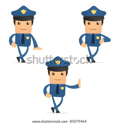 set of funny cartoon policeman in various poses for use in presentations, etc.
