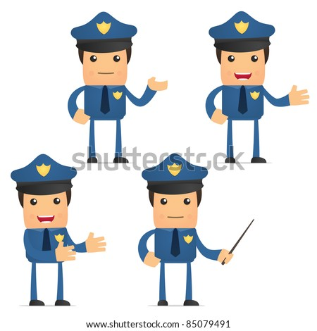 set of funny cartoon policeman in various poses for use in presentations, etc. - stock vector