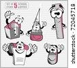 Set of funny cartoon school objects - vector - stock photo