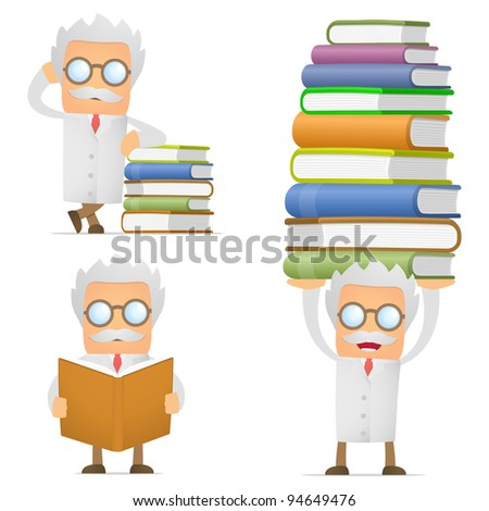 set of funny cartoon scientist in various poses for use in presentations, etc. - stock vector