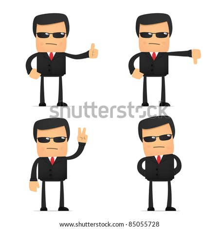 set of funny cartoon security in various poses for use in presentations, etc. - stock vector