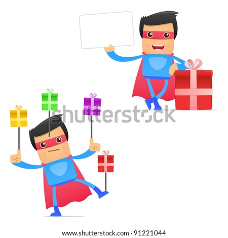 Set of funny cartoon superhero in various poses for use in