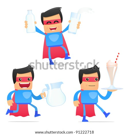 set of funny cartoon superhero in various poses for use in presentations, etc. - stock vector