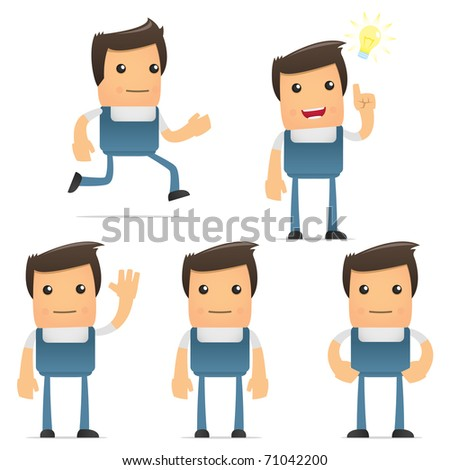 set of funny cartoon worker in various poses for use in presentations, etc. - stock vector