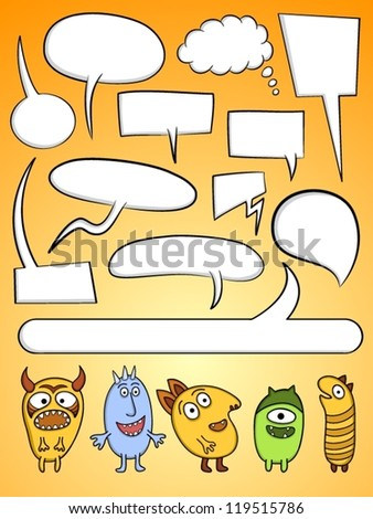 Set of funny characters and speech bubbles. - stock vector