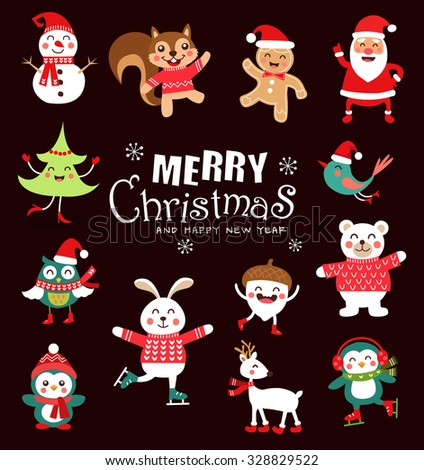 Set of funny Christmas Characters. Cute animals. Vector illustration. - stock vector