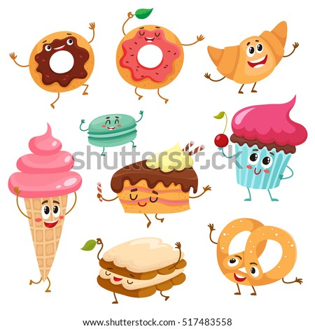 Set Funny Dessert Characters Donut Croissant Stock Vector ...