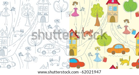 Set of funny doodle childish patterns - stock vector