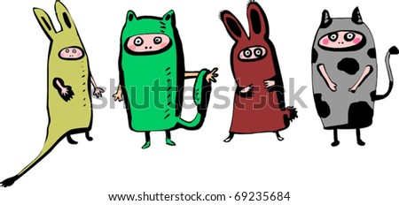 Set of funny dress up kids - stock vector