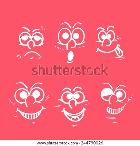 Set of funny faces showing different facial expressions on pink background.  - stock vector