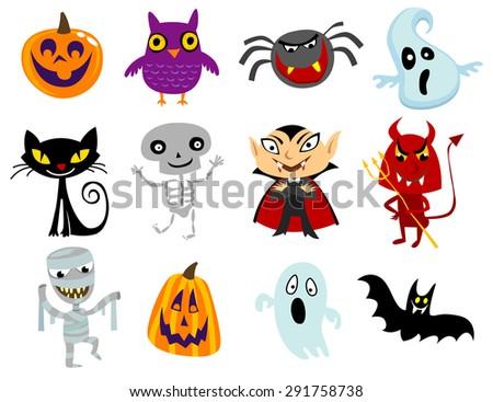 Set Funny Halloween Cartoons Cute Halloween Stock Vector 291758738 ...