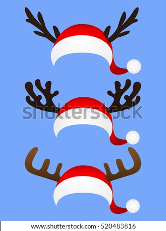 Set of funny hat of Santa Claus with reindeer horns