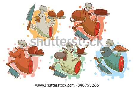 Set of funny illustration for cooking, Animal with knives who cooked himself, chicken, pig, cow, sheep, fish, vector - stock vector