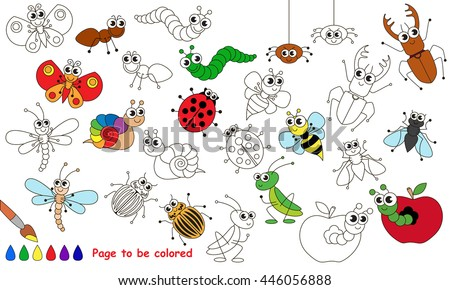 Set Funny Insects Be Colored Coloring Stock Vector 446056888 ...