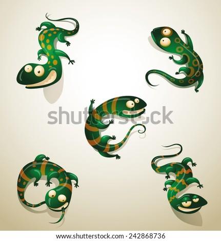 Set of funny lizards, vector - stock vector