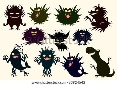 Set of funny monsters - stock vector
