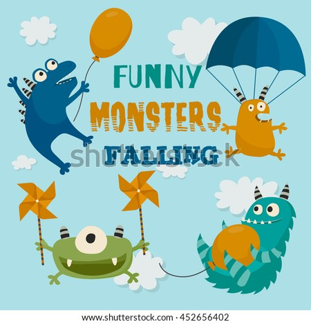 Set of funny monsters falling in the sky. Monsters with different flying crafts. Cute cartoon characters collection. Childish card, background. Vector illustration. - stock vector