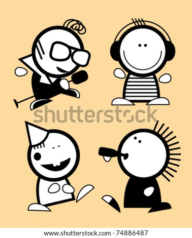 Set of funny people icons - stock vector