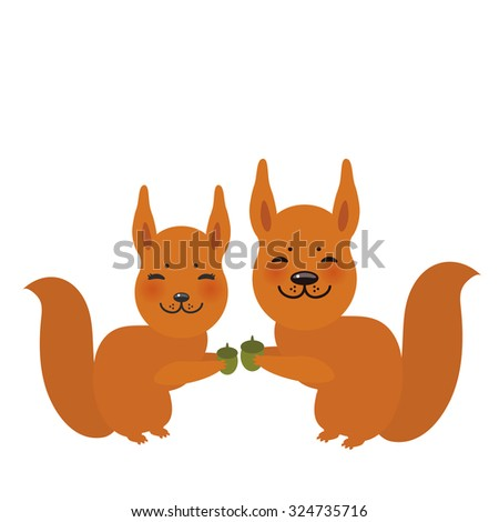 Set of funny red squirrels with fluffy tail with acorn isolated on white background. Vector - stock vector