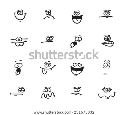 Set of funny smiley faces with different expressions - stock vector