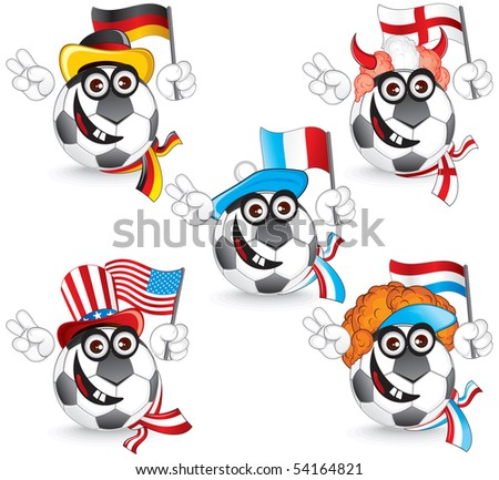 Set of Funny Soccer Ball Smileys: germany, england, france, dutch, usa, vector illustration - stock vector