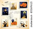 Set of funny stamps and postmarks, Halloween theme. Vector - stock photo