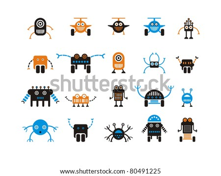 set of funny stylized robots - stock vector