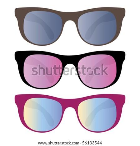 Set of funny sunglasses - stock vector