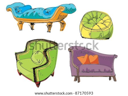 set of furniture - stock vector