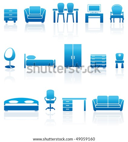 Set of furniture icons - stock vector