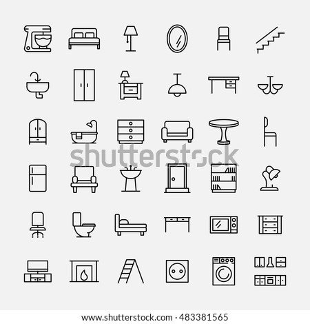 Modern Furniture Icon set furniture icons modern thin line stock vector 483381565
