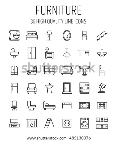 Set Of Furniture Icons In Modern Thin Line Style High Quality Black Outline Home Symbols