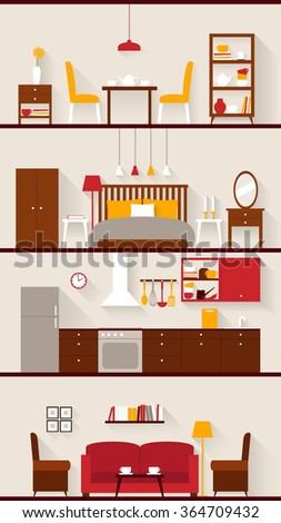 Set of furniture of rooms for house. Flat style illustration - stock vector