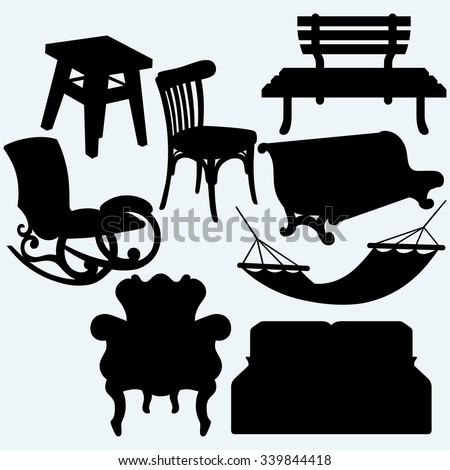 rocking chair silhouette. Brilliant Silhouette Set Of Furniture Rocking Chair Stool Sofa Bench And Hammock Isolated To Rocking Chair Silhouette