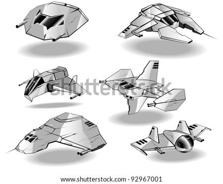 set of futuristic interceptors.vector 3 - stock vector