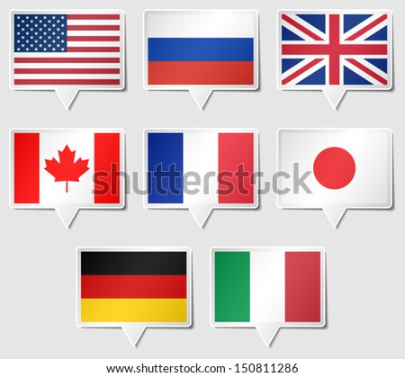 Set of G8 flags as speech rectangle stickers