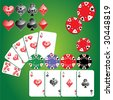 set of gambling chips, cards and card symbols - stock vector