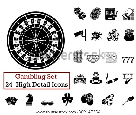 Set of 24 Gambling Icons in Black Color.  Suitable For All Kind of Design (Web Page, Interface, Advertising, Polygraph and Other). Vector Illustration.  - stock vector